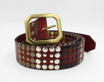 Leather Belt with multicolor rivets