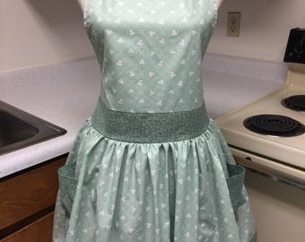 Women's Apron, Full Coverage Apron, Mint Green Clover and Tiny Paisleys Cotton Fabric with Bow Detail