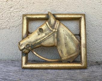 Vintage Gold Tone Horse Brooch Framed Horse Bridle