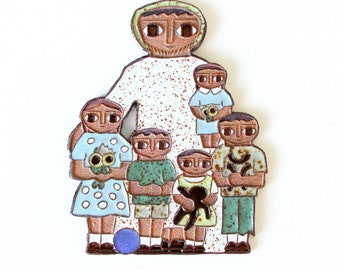 Vintage Ceramic Wall Plaque Family - Ceramic Cookie Wall Art by Father Maur van Doorslaer