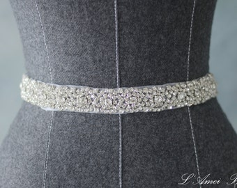 Bridal Sash Belt , Wedding Sash Belt , Heirloom Crystal Rhinestone Sash Bridal Belt
