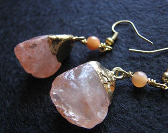 Peach earrings   rock crystal   stone   moonstone bead   gold dangle   for her   nugget