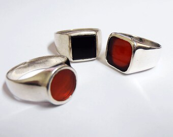 Silver Signet ring, square Signet ,round Signe,Red Carnelian ring, Black onyx ring, aventurine stone, Israeli Ring