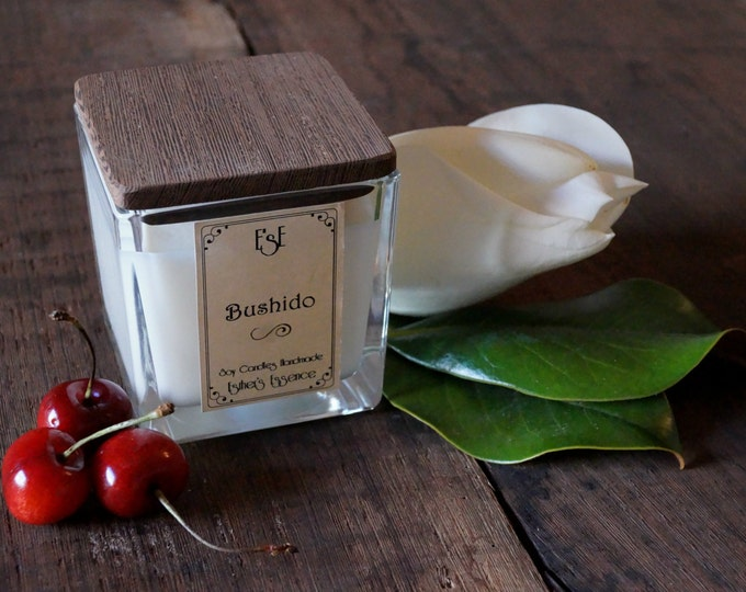 "Soy Candle, Magnolia Cherry, 7oz / 4oz  ""Bushido"" Floral, Feminine, Sweet, Jar glass, Gift for her, Favors, Wedding, Luxury candle, Esotic,"
