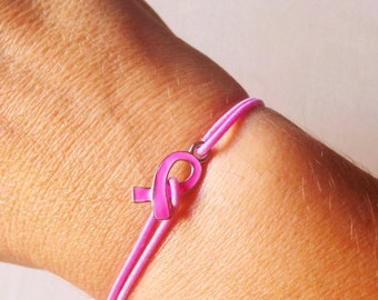 Breast Cancer Awareness Bracelet, Pink Ribbon Bracelet, Breast Cancer Survivor Jewelry, Pink Bracelet