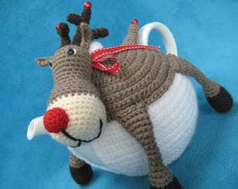 Rudolph The Red Nosed Reindeer Teacosy PDF CROCHET PATTERN Tea Cosy