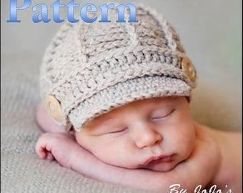 PDF Newsboy Hat PATTERN - Baby Newsboy Hat - Crochet Pattern - Newborn and 0 - 3 month Sizes -Crochet Newsboy Hat - by JoJosBootique