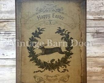 Happy Easter - Bunny Rabbit (color) 8x10 Canvas