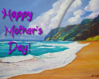 Mother's Day Card, Kauai Moms, Happy Mother's Day, Moms Day, Mothers Day, Polihale, Tropical Beach Cards, 5x7 pdf, Hawaii Mothers Day, beach