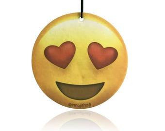 EmojiFresh Heart Eyes Emoji Car Air Freshener (3 Pack) - Cherry Scent