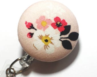 Soft pink Badge reel Vintage Flower fabric floral Badge Clip for Nurses Name Badge Reel Retractable lD ID Badge Holder Badge Pull name tag