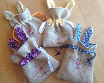 Easter egg bunny pouch. Easter Egg hunt bag. Drawstring rabbit bag for Easter. Child's Easter egg pouch.