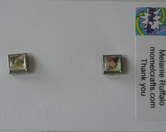 Small Silver Diamond Square Post Earring