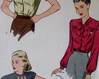 Vintage Simplicity 1940s Miss and Womans  Set of  Blouses in 3 Versions UNPRINTED  Sewing Pattern #1430 Size 14 Bust 34