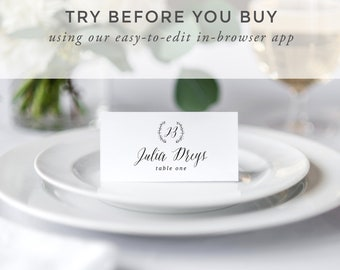 Printable Wedding Place Cards Template, Rustic Wedding Place Cards, Wedding Place Cards Calligraphy, Wedding Place Cards with Meal Choice