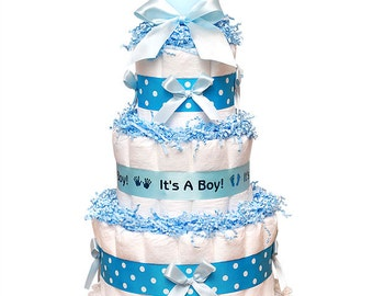 3 Tier Boy Or Girl Baby Shower Diaper Cake