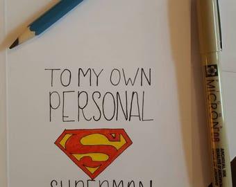 Superhero superman birthday card