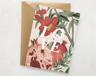 Love Christmas Card Set // Botanical Pomegranate Card // Holiday Card Set // Religious Card  // Botanical Boho Card // Christmas Card