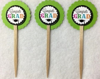 Set Of 12 Personalized Graduation  Cupcake Toppers (Your Choice Of Any 12)