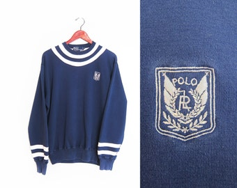 vintage sweatshirt / POLO Ralph Lauren / Polo Uni Crest / 1990s navy and white striped POLO sweatshirt Medium