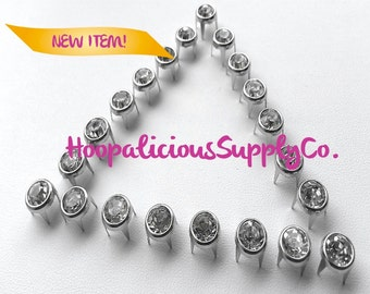 BEST Quality 25pc 8mm Prong Studs w/Silver Rhinestone Center-Perfect 4 Leather.Shoes.Shirts.Shorts.Customize ur clothing.Ships from USA.