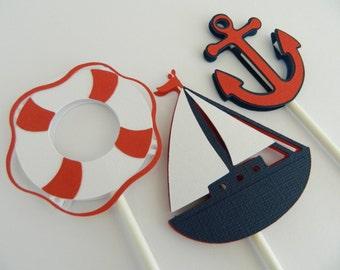 12 Nautical Cupcake Toppers Sailboat Cupcake Toppers Nautical Baby Shower Nautical Birthday Cake Toppers • Set of 12