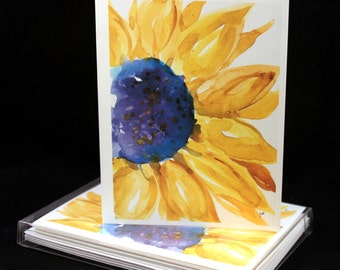 Sunny Sunflower Original Watercolor PRINT Note Card Set, Watercolor Cards, Watercolor Sunflowers, Sunflower Cards