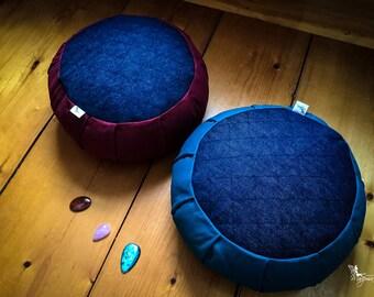 Traditional zafu Jeans Denim Meditation cushion Organic buckwheat hulls by Creations Mariposa Zen