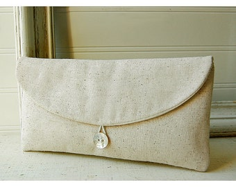 Set 6  bridesmaid clutch wedding gift burlap shabby purse raw cotton linen clutch Bridesmaid wedding rustic Personalize party gift MakeUp
