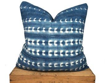 African Vintage Indigo Mudcloth Pillow Cover   Shibori Mudcloth Pillow