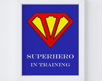 Superman Letter,Superhero Print,Superhero Printable,Superhero Wall Art,Letter V Nursery Art,Printable Wall Art,Nursery Letter Print,Monogram