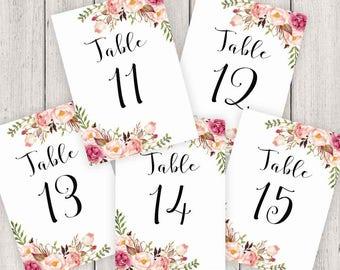 Wedding Table Numbers Printable, 5X7 Table Numbers Wedding #11-15, Instant Download, Table Numbers, Printable Table Numbers, Vintage, B120