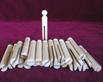 Bulk Pack of 25 Round Clothes Pins for Doll Making, Unfinished Hardwood