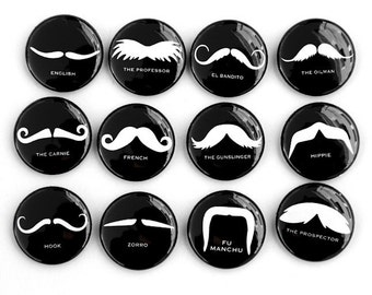 Mustaches Set of 12 - Pinback Buttons Badges 1 inch - Black