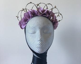SALE Purple Hydrangea flower crown with gold details / Floral headband / Fascinator / Floral Headpiece