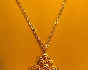 Gold Modernist Statement Vintage Pendant
