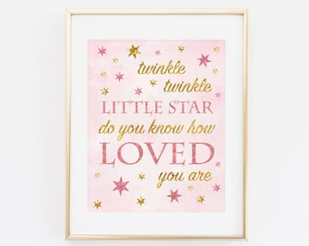 Twinkle twinkle little star do you know how loved you are, Baby Birthday Decoration, Baby girl Pink Gold Birthday Printable, 1st birthday