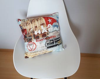 Pillow cover of international cities in vintage style patterned