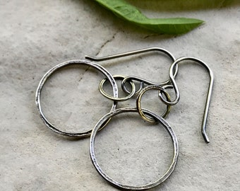 Oxidized Silver Circle Earrings, Small Silver Hoops