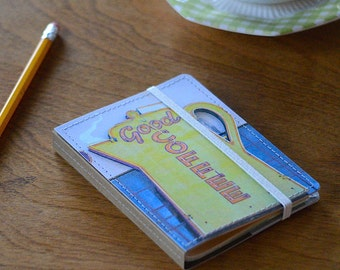 Upcycled Mini Journal- Coffee Edition, Ready to Ship!