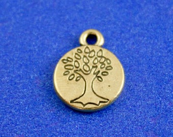 "20 pcs -Antique Bronze Tree Charm Pendants, Round Antique Brass Tree Charm 15mm (5/8"") x 12mm (1/2"")- AB-B61892"