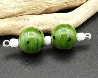 Round Lampwork Pair in Olive Green decorated with dots - Lampwork Beads by Joyce McGillivray