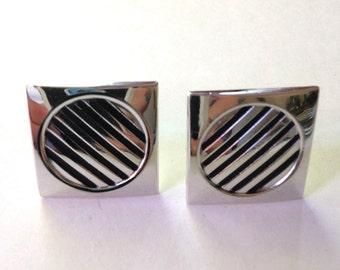 MODernist  Cuff Links Silver Vintage 60s Swank