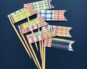 Madras / Preppy / Party Picks / Cupcake Toppers / set of 24