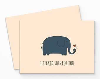 Printable Elephant Valentine Card - Funny Valentines Day Card - Romantic Love Card - Digital Love Card - DIY Valentine Card