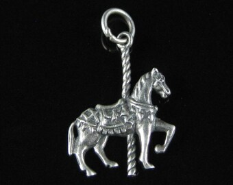 Charm, Pendant, Carousel Horse, Sterling Silver, 3D, Theme Park Ride, Pony, Merry Go Round, Fun Park, Silver Saddle, Collectibles