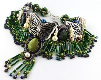 Necklace, Resin, Bead Embroidery, Butterfly