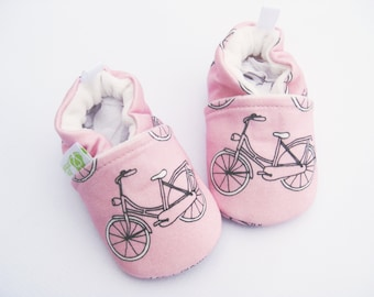 Organic Knits Vegan Cruiser Bikes in Pink / All Fabric Soft Sole Baby Shoes / Made to Order /  Babies
