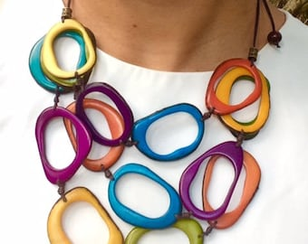 tagua necklace, tagua nut necklace, handmade, Eco Friendly, Empowering women, tagua jewelry,  vegetal ivory, necklaces, rainbow necklace