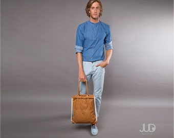 Camel brown leather backpack - multi-way leather bag - leather tote SALE leather drawstring backpack leather rucksack